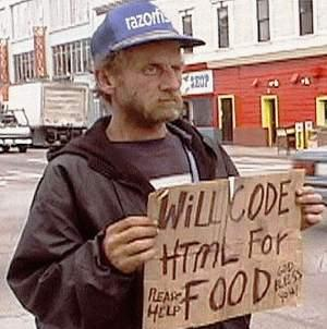Image of a man in California asking for job in exchange for food